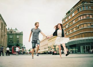 couple happy hold hand together romantic