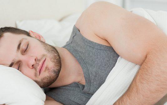 sleeping man snore