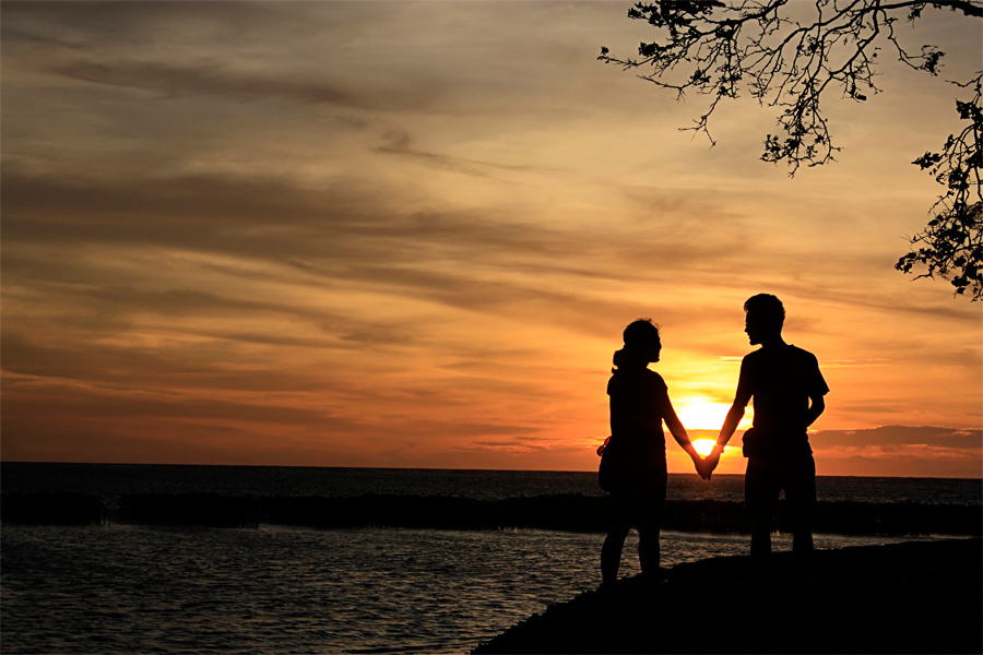 couple shilloute sunset pacar