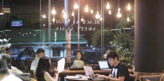 coffee shop jogja man woman people kerja