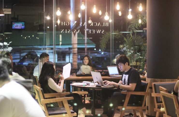 coffee shop jogja man woman people kerja