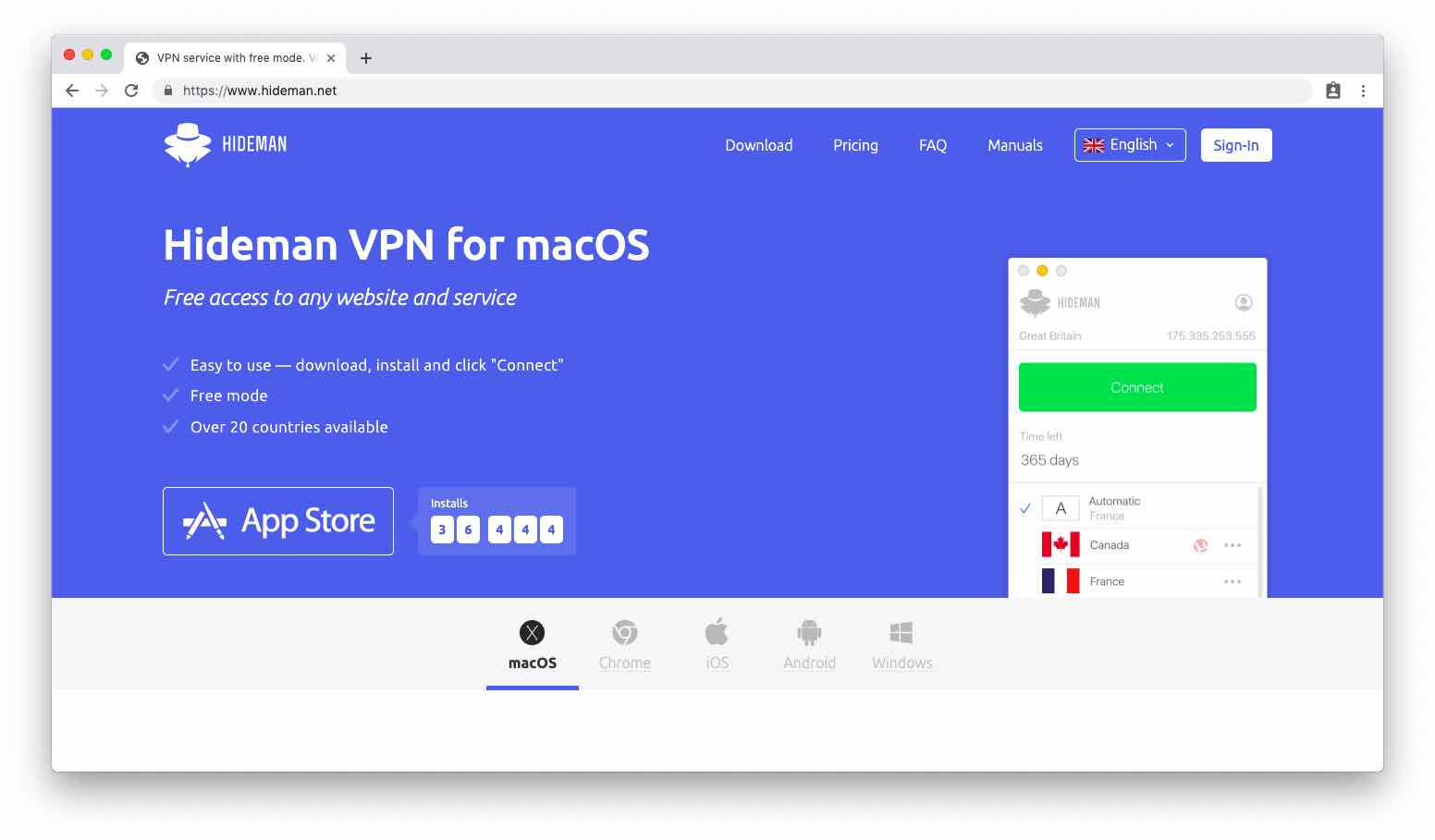 vpn gratis hideman security privacy data encrypted